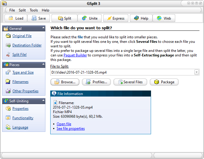 GSplit free file splitter