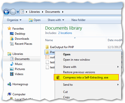 "Right-click on files or folders and choose ""Compress into a Self-Extracting exe"""